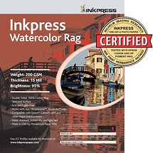 Inkpress Watercolor Rag Paper 11 x 17 In. 25 Sheet