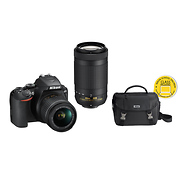 D3500 Digital SLR Camera with 18-55mm and 70-300mm Lenses (Black) & DSLR Starter Kit with Nikon School Online Class
