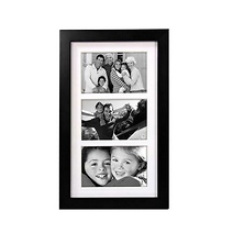 Linear Wood Matted 4x6 Black Picture Frame Image 0
