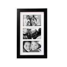 Malden Linear Wood Matted 4x6 Black Picture Frame
