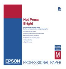 Epson Hot Press Bright Smooth Matte Paper, 17 x 22in - 25 Sheets