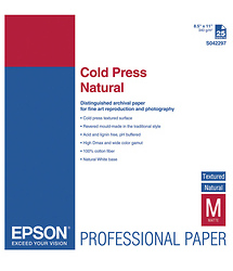 Epson Cold Press Natural Textured Matte Paper, 8.5 x 11in (25 Sheets)