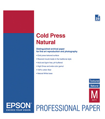 Epson Cold Press Natural Textured Matte Paper, 13 x 19in (25 Sheets)