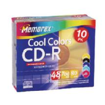Memorex Cool Colors CD-R Media (700MB/80 Minutes, 10 Pack)