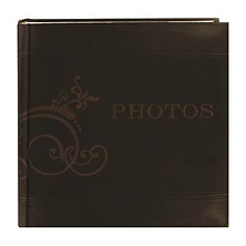 4 x 6 Brown Embroidered Scroll Leatherette Photo Album Image 0