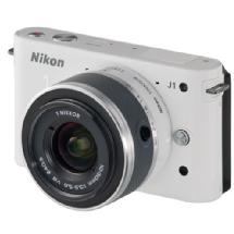 Nikon 1 J1 Mirrorless Digital Camera with 10mm Lens & 10-30mm VR Lens (White)