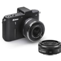 Nikon 1 V1 Mirrorless Digital Camera with 10mm Lens & 10-30mm VR Lens (Black)