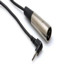 Hosa Technology Microphone Cable, Right-angle 3.5 mm TRS to XLR3M, 2 ft