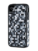 FabShell Fabric Hard Shell Case for iPhone 4/4S PixelParty Black/White