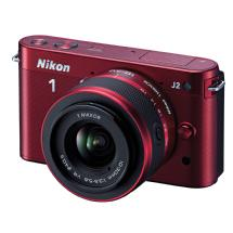 Nikon 1 J2 Mirrorless Digital Camera with 10-30mm VR Zoom Lens - Red
