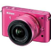 Nikon 1 J2 Mirrorless Digital Camera with 10-30mm VR Zoom Lens - Pink