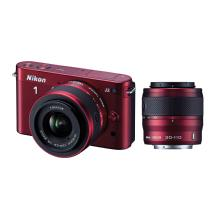 Nikon 1 J2 Mirrorless Digital Camera with 10-30mm & 30-110mm Lens - Red