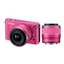 Nikon 1 J2 Mirrorless Digital Camera with 10-30mm & 30-110mm Lens - Pink