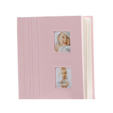 L2 Bambino Style Bound Album, Stitched Cloth Cover with Window, Holds 200 4x6 In. Photographs 2-up Pink Image 0