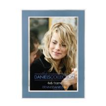 Dennis Daniels 4X6 In. Shiny Silver W/Blue Inlay Photo Frame