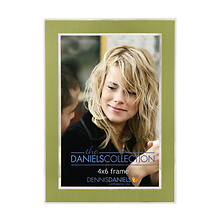 4X6 In. Shiny Silver W/Green Inlay Photo Frame Image 0
