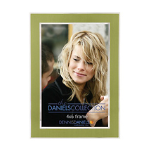 Dennis Daniels 4X6 In. Shiny Silver W/Green Inlay Photo Frame
