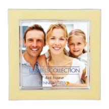Dennis Daniels Enamel Silver Contemporary Design Photo Frame - 4x4 In. Vanilla Cream