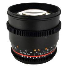 Rokinon 85mm t/1.5 Aspherical Lens for Sony Alpha with De-Clicked Aperture and Follow Focus Fixed Lens