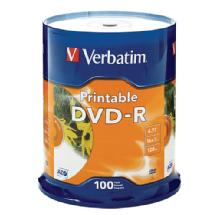 Verbatim DVD-R 4.76GB 16x White Inkjet Printable (100 Pack)
