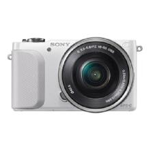Sony Alpha NEX-3N Mirrorless Digital Camera with 16-50mm Lens - White / Silver