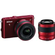 Nikon 1 J3 Mirrorless Digital Camera with 10-30mm and 30-110mm Lenses (Red)