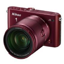 Nikon 1 J3 Mirrorless Digital Camera with 10-100mm Lens (Red)