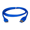 QVS | 3 Foot USB 3.0 Cable - A Male to Micro B Male (Blue) | CC2228C03