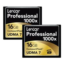 Lexar Media 16GB CompactFlash Memory Card Professional 1000x UDMA (2-Pack)