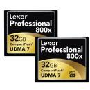 Lexar | 32GB CompactFlash Memory Card Professional 800x (2-Pack) | LCF32GCTBNA8002