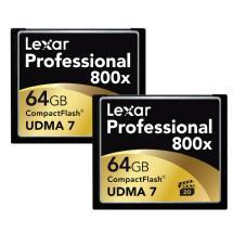 Lexar Media 64GB CompactFlash Memory Card Professional 800x (2-Pack)