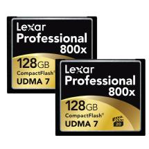 Lexar Media 128GB CompactFlash Memory Card Professional 800x (2-Pack)