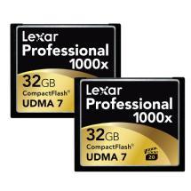 Lexar Media 32GB CompactFlash Memory Card Professional 1000x (2-Pack)