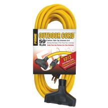 Prime Wire and Cable Triple Tap Extension Cord 12/3 (Yellow, 50ft.)
