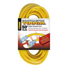 Prime Wire and Cable Outdoor Extension Cords 50ft 12/3 with Primelight Indicator (Yellow)