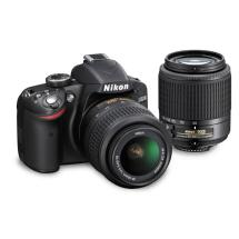 Nikon D3200 Digital SLR Camera with 18-55mm VR and 55-200mm DX Lenses (Black)
