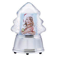 Christmas Tree Photo Snow Globe With Silver Base Image 0