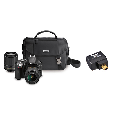 D3300 Digital SLR Camera with 18-55mm and 55-200mm Lenses (Black) with WU-1a Wireless Mobile Adapter Image 0