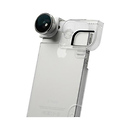 4-in-1 Photo Lens for iPhone 5/5s with Quick-Flip Case (Silver Lens with White Clip & Clear Case)