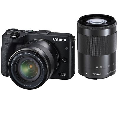 EOS M3 Mirrorless Digital Camera with 18-55mm and 55-200mm Lenses (Black) Image 0