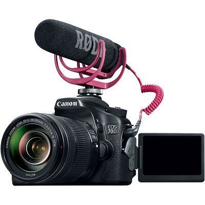 EOS 70D Video Creator Kit with EF-S 18-135mm f/3.5-5.6 IS STM Lens, Rode VideoMic GO Microphone & Sandisk 32GB SDHC Card Image 0