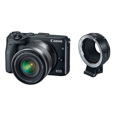 EOS M3 Mirrorless Digital Camera with 18-55mm Lens & EF-M Lens Adapter Kit (Black) Image 0