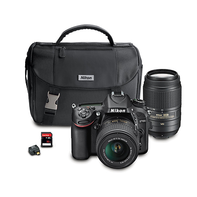 D7100 Digital SLR Camera with 18-55mm and 55-300mm Lens Wi-Fi Kit (Black) Image 0