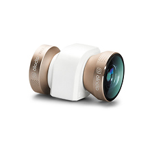 4-in-1 Photo Lens for iPhone 5/5s/SE (Gold Lens with White Clip) Image 0