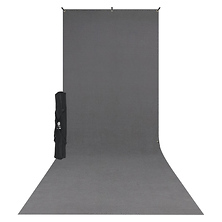 X-Drop Wrinkle-Resistant Backdrop Kit Rich Gray Sweep (5 x 12 ft.) Image 0