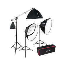 OctaBella 1500W 3-Light LED Softbox Kit with Boom Arm Image 0