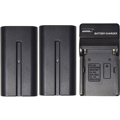2-Pack of NP-F750 Lithium-Ion Batteries with Charger for LED Lights Image 0