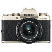 X-T100 Mirrorless Digital Camera with 15-45mm Lens (Champagne Gold)