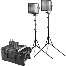 Flex Cine DMX Bi-Color LED Mat Two-Light Fixture Travel Kit with Batteries and Stands (1 x 1 ft.) Image 0