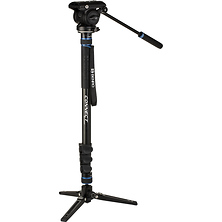 Connect Video Aluminum Monopod with Flip Locks, 3-Leg Base, and S4 PRO Head Image 0
